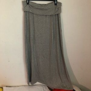 Long gray cotton maxi skirt